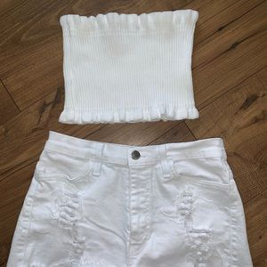 White tube crop top